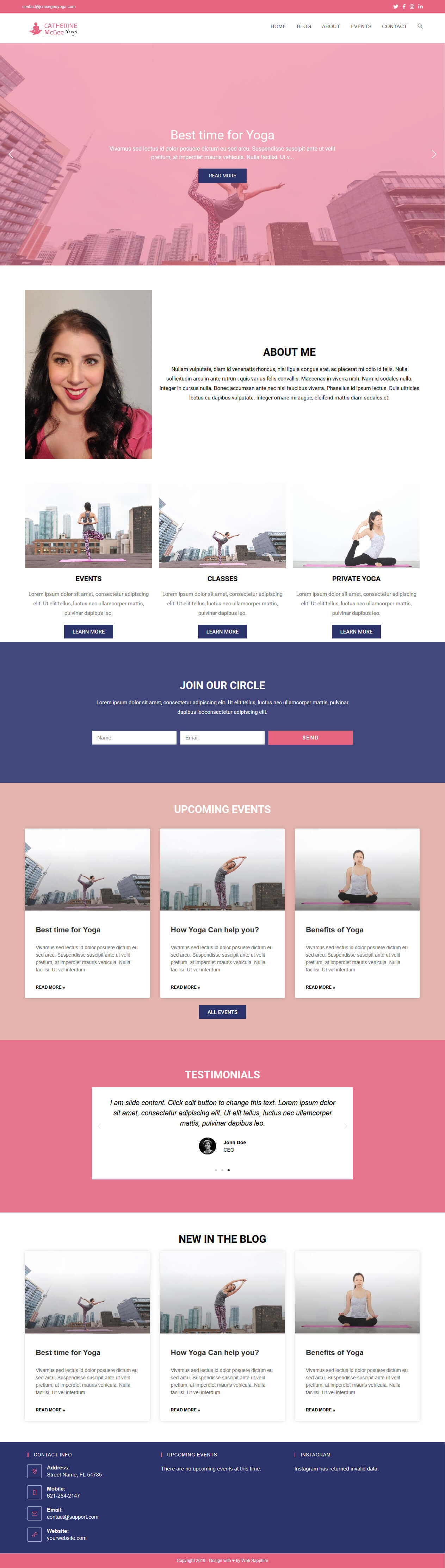 Catherine McGee Yoga Website Full Page Screenshot