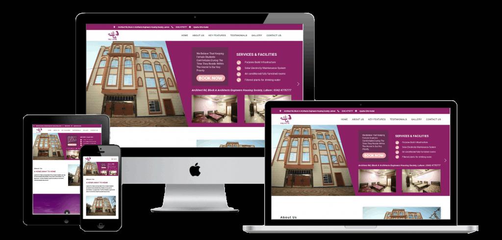 Ayesha Girls Hostel Lahore Website Multi Device Transparent Mock-up Design by Web Sapphire