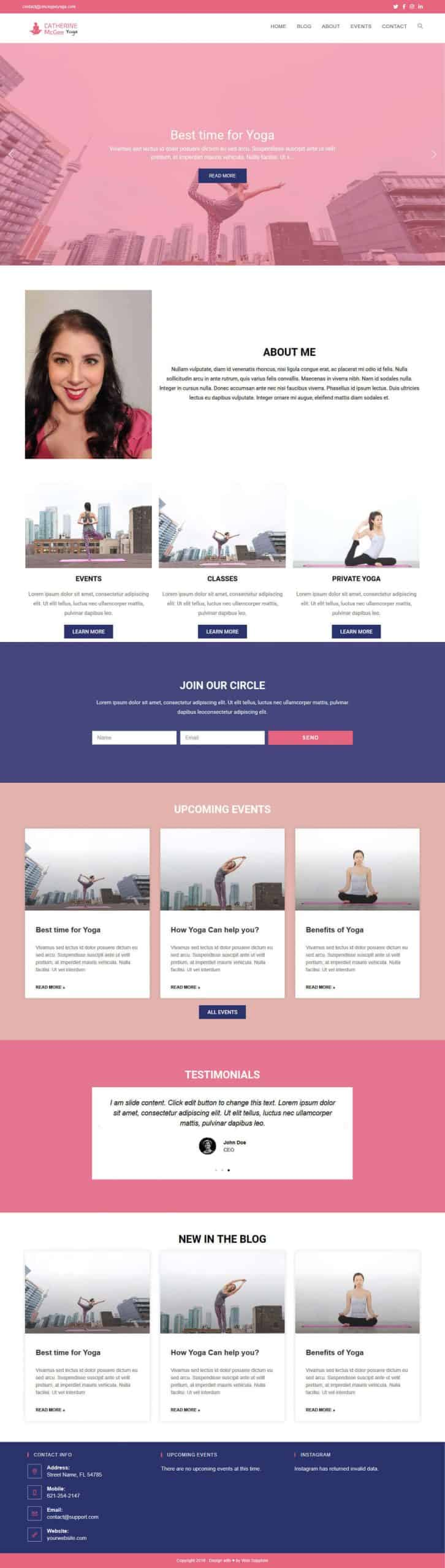 Catherine McGee Yoga Studio Website Full Screen Mock-up Design by Web Sapphire