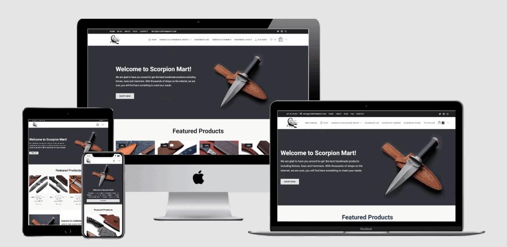 Scorpion Mart Website Multi Device Mockup Transparent Design by Web Sapphire