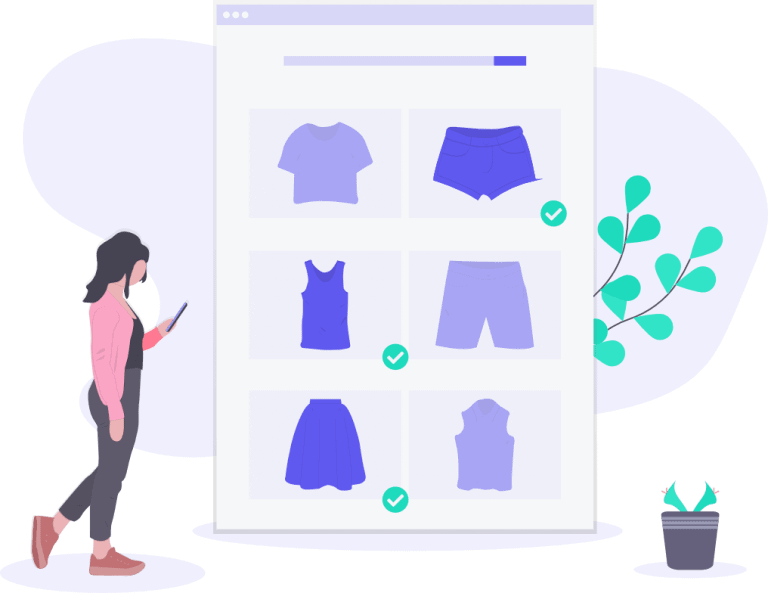 An illustration of a girl shopping from online ecommerce store development