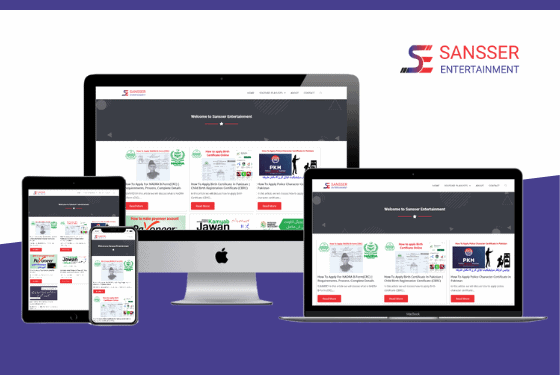 A multi device mockup of sansser entertainment website designed by web sapphire with elementor